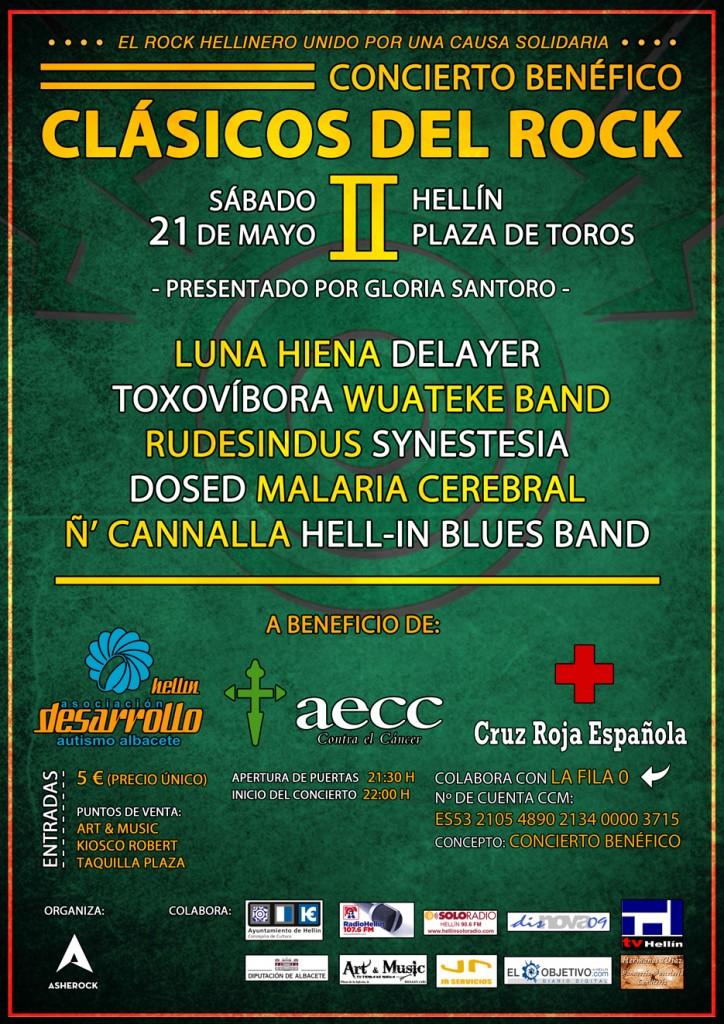 Cartel concierto benéfico Clásicos del rock