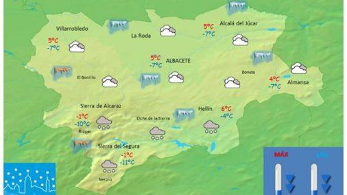 Para mañana miércoles, fuerte bajada de las temperaturas y posibilidades de nevadas en Hellín y su Comarca