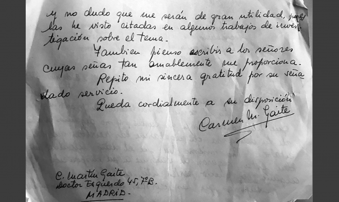 Carta de Carmen Martín Gaite,a Juan Andújar Balsalobre Archivo EFDH.