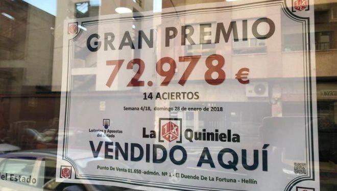 Un boleto de 14 aciertos de la Quiniela deja en Hellín 72.978 euros