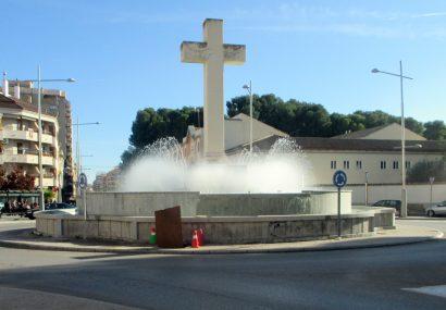 Puesta en marcha de la fuente de la Plaza de España