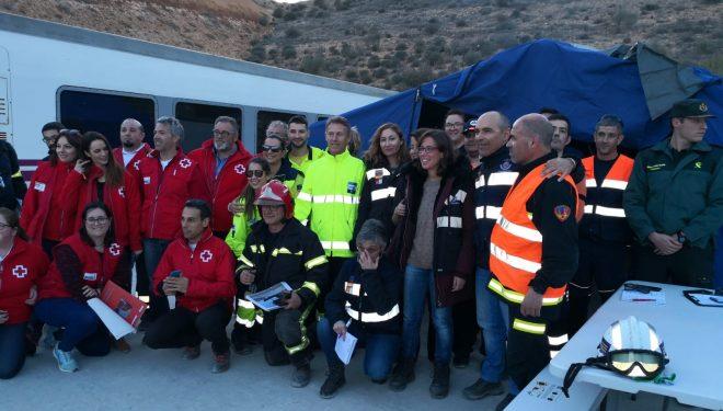 Simulacro de emergencia en el túnel de la variante ferroviaria del pantano de Camarillas