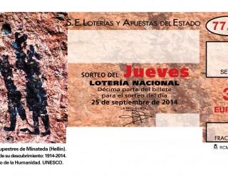 Las Pinturas Rupestres del Abrigo Grande de Minateda en los billetes de la Lotería Nacional