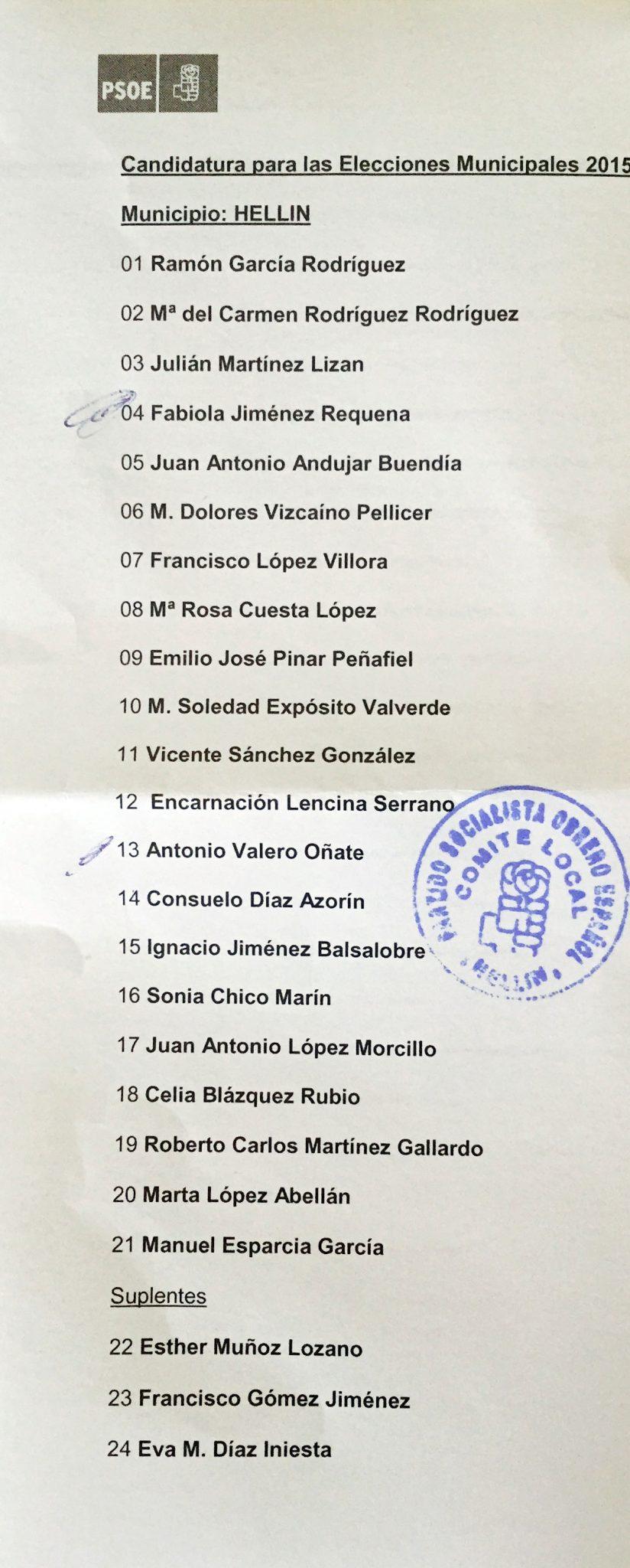 Listas PSOE