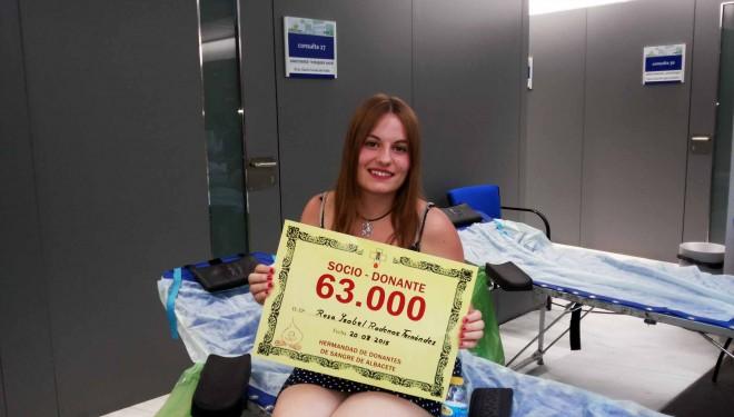 La Hermandad de Donantes de Sangre de Albacete alcanza los 63.000 socios
