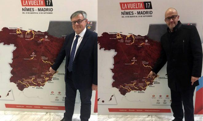 Presentación Vuelta España 2017.  Ramón García, junto al concejal de Deportes, Francisco López.