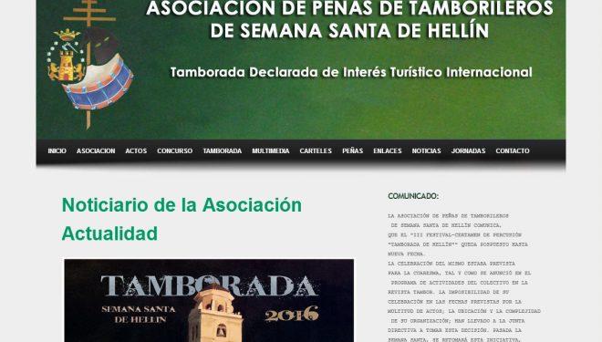 La página Web de la Asociación de Peñas de Tamborileros sin actualizar