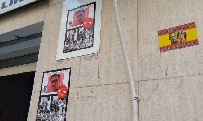 La Casa del Pueblo de Hellín con carteles franquistas.